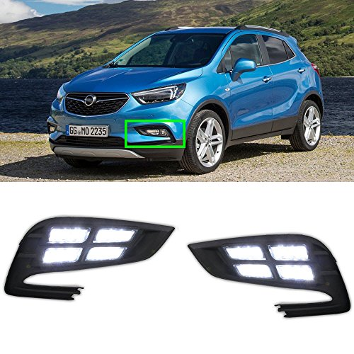 eeMrke Auto Tagfahrlicht Nebelscheinwerfer Schutzsatz Car Modifizierter Markt DRL Gelbe Blinker Licht für Mokka X 2017 2018