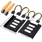 UCEC 2.5インチHDD/SSD用→3.5インチサイズ変換ブラケット HDD/SSD用サイズ変換ブラケットキット 電源ケーブルと2x SATAケーブルなど付き (2 x ブラケットフレーム)