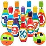 Cestbon Bowling niños Bolos Bolos Bola de Bolos Juego de Juego de Bolos en el Exterior de Interior Juguete Regalo para los niños Muchachas de los Muchachos del 3 4 5 años (10 de Cono y 2 Bolas),Negro
