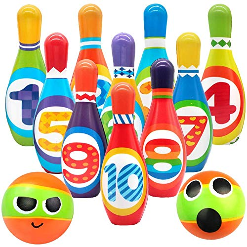 Cestbon Kręgle dziecięce zestaw kręgli do gry w kręgle kula bule na zewnątrz do wewnątrz zabawka prezent dla dzieci chłopców dziewcząt od 3 4 5 lat (10 stożków i 2 piłki), czarny