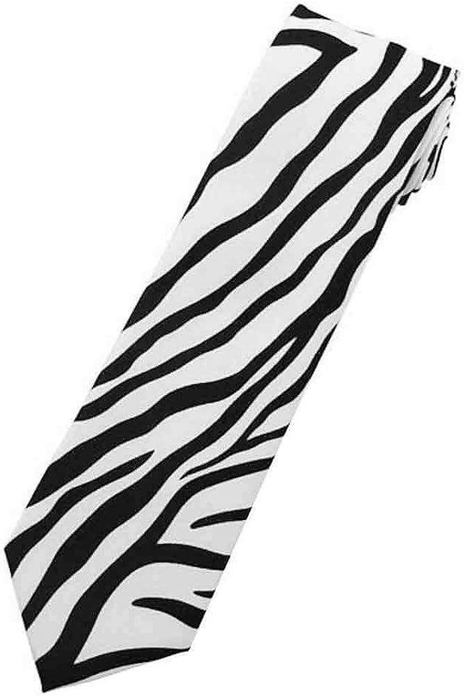 Jacob Alexander Boys' Prep Zebra Animal Print Black and White Neck Tie