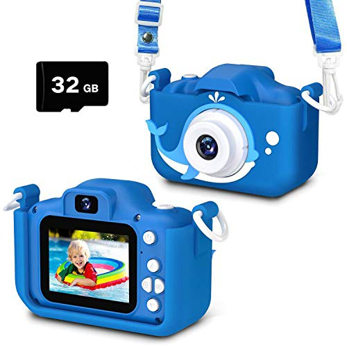 Kids Camera Toys Gifts for Boys, Rechargeable Digital Video Shockproof Camcorder with Front Rear Dual-Lens, Best Birthday for 3-8 Years Old Boys Gifts - 32GB SD Card Included