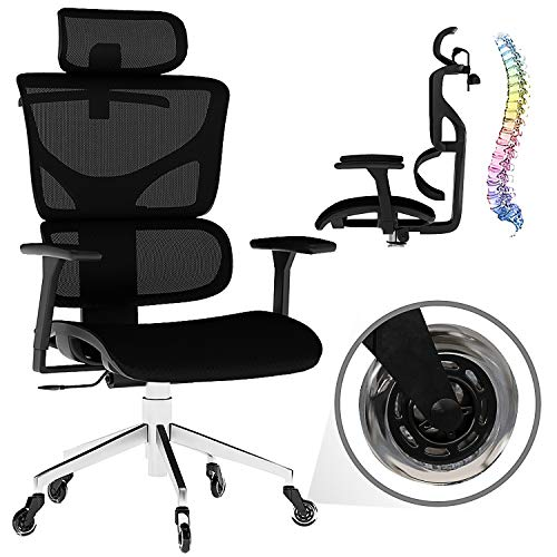 Naviao Modern Executive Office Furniture Ergonomic Mesh Chair with 3-Directional Armrest and Lumbar Support - Comfortable Swivel Executive Chair (Black)