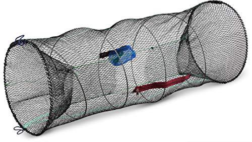 Storfisk fishing & more XXL Köderfischreuse extragroß (90 cm x 40 cm) mit Futtertasche und Öffnung zur Fischentnahme inkl. 3 m Schnur, Stück:1 Stück