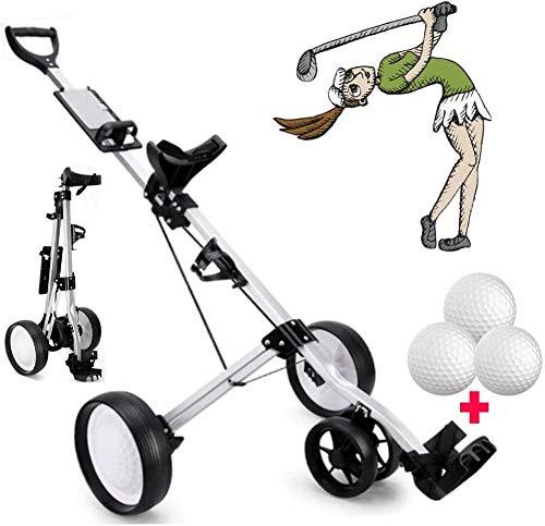 Carrello da Golf da Golf Carrello da Golf a 4 Ruote con Manico Regolabile Scorecard Freno di Golf Carrelli da Golf Un Secondo per Aprire e chiudere Uptodate