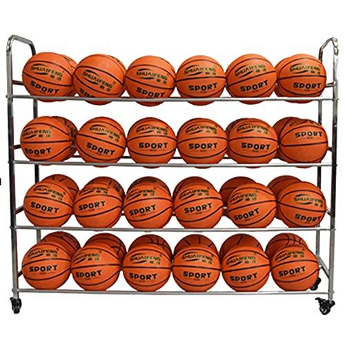 LXFA Estante de Pelota Carro de Almacenamiento de Bolas para Baloncesto, Fútbol, Voleibol, Organizador de Equipos Deportivos para el Patio de la Escuela de Gimnasio, Capacidad para 48 Bolas N. ° 5
