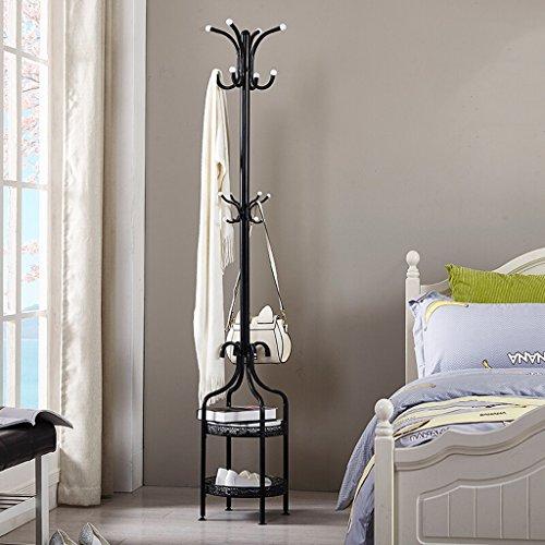 SKC Lighting-Porte-manteau 2 niveaux Bar Coat Rack Métal Sol Cintre Cintre Simple Chambre Salon Cintre Minimaliste Moderne Cintre Noir Blanc (38 * 38 * 180CM) (Couleur : Noir)