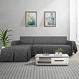 MAXIJIN Funda de sofá seccional en Forma de L Funda de sofá de Lino de 2 Piezas con Funda Protectora de Volantes para Sala de Estar (2 Asientos y Chaise Longue Derecho, Negro)