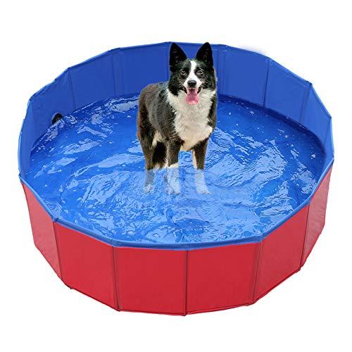 Dyna-Living Hundepool Schwimmbecken für Hund & Kleine, Faltbare Schwimmbad Hunde Planschbecken, Hundeplanschbecken Hundebadewanne Planschbecken für Kinder und Hunde - Rot (60 x 20 cm)