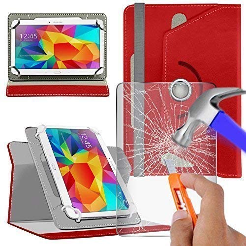 N4U Online Red Glass Protector & Rotating PU Leather Case For Acer Iconia One 8' B1-810 Tablet
