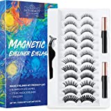 Magnetic Eyelashes and Magnetic Eyeliner Kit, 12 Pairs of Different Styles Reusable 3D 6D Magnetic Eyelashes with 2 Special Magnetic Eyeliners and Tweezers, Easy to Apply with Natural Look