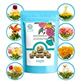 TETWIN Flowering Tea Balls, 8 Unique Varieties of Blooming Tea Flowers and Natural White Tea Leaves, All Blooming Tea Balls Individually Wrapped, Perfect for Home Office Party Use