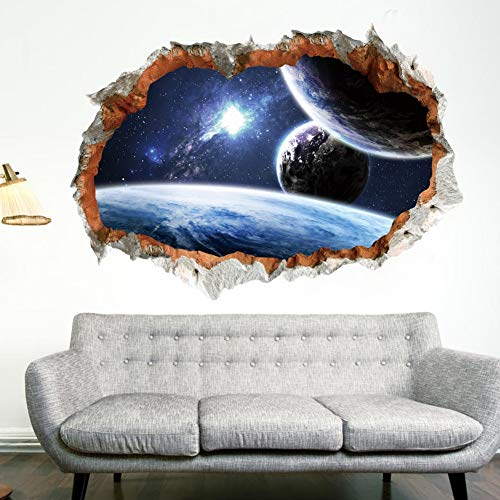 Planet Wall Sticker For Kids Room 3D Effect Scenery Home Decor Galaxy l Decals Living Room Decoration