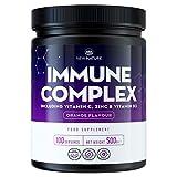 Polvo de Complejo Inmunológico - Potente Mezcla con 1000mg de Vitamina C, 3000IU de Vitamina D y 25mg de Zinc - Sabor Naranja - 100 porciones, 500 gramos.