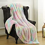 LOCHAS Premium Shaggy Rainbow Blanket for Girls Kids 50x60 Inches, Soft Fluffy Colorful Throw Blankets with Fuzzy Sherpa Reversible, Washable Cute Rainbow Throws for Couch Bed
