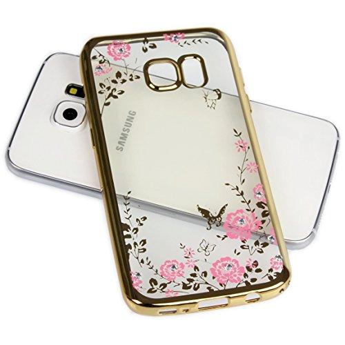 Handy Lux® Schutz Hülle Silikon Hülle mit Glitzer Steine Strass Cover für Samsung Galaxy J7 Prime/ON7 2016, Gold Hülle - Rosa Blume