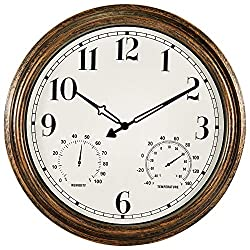 16 Inch Large Outdoor Wall Clock,Waterproof Vintage Non-Ticking Clock with Thermometer and Hygrometer Combo,Battery Operated Clock Wall Decorative- Bronze