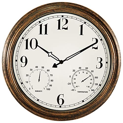16 Inch Large Outdoor Wall Clock,Waterproof Vintage Non-Ticking Clock