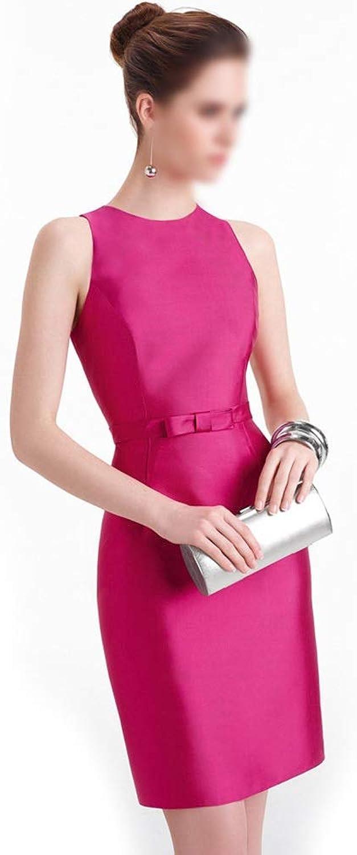 Pink Red Womens Elegant High Waist Round Neck Evening Short Dress (color   pink red, Size   XL)