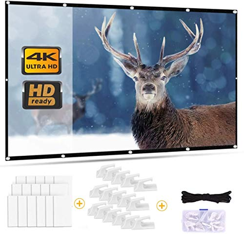 Outry Projector Screen 16:9, Foldable Movie Projector Screen for Home Theater Cinema Outdoor Sport Event, Front and Rear Projection (100 inch)