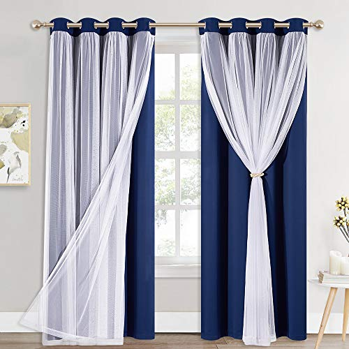 PONY DANCE Navy Blue Curtains Blackout - Room Darkening Curtains with Sheer Elegance Drapery Layered Curtains Mix and Match for Living Room/Kids Bedroom (Set of 2, 52x84 inch, Free Tie-Backs)