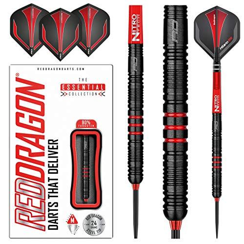 RED DRAGON Milano RS 24g Tungsten Darts Set mit Flights und Schäfte