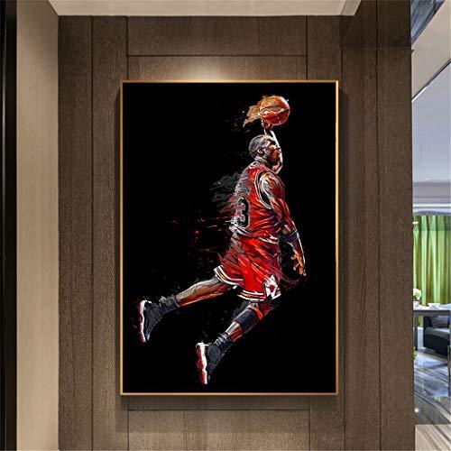 XXW Abstrakte Kunst Malerei Michael Jordan Poster Fly Dunk Basketball Wandbilder Für Wohnzimmer Dekoration Schlafzimmer Sport Leinwand