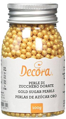 Decora Perle di Zucchero, Dorato -100 gr
