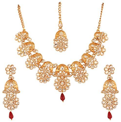 Touchstone Collar de joyera de diseador Floral de Clase lite mughal kundan Look rhines para Mujer Rojo