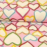 Dekostoff Canvas Herzen pink bunt - Preis gilt für 0,5