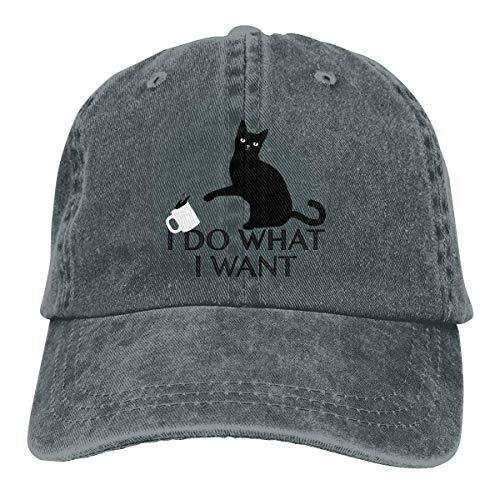 Hoswee Unisex Kappe/Baseballkappe, I Do What I Want Cat Cowboy Caps Adjustable Snapback Baseball Hat Deep Heather