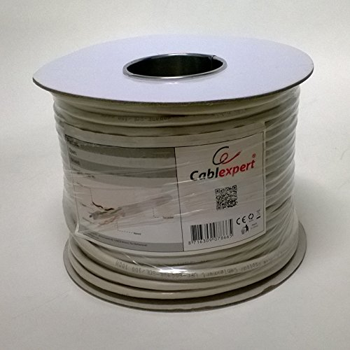 I-CHOOSE LIMITED 100M Cat5e CCA 24 AWG kabel voor netwerk/Ethernet Roll Drum, Grijs, 100 meter Reel Cat6 - UTP Solid CCA Grijs