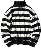Hotmiss Men Women Oversized Turtleneck Striped Long-Sleeve T-Shirt Basic Pullover Hip Hop Tee Shirt (Black White, X-Large)