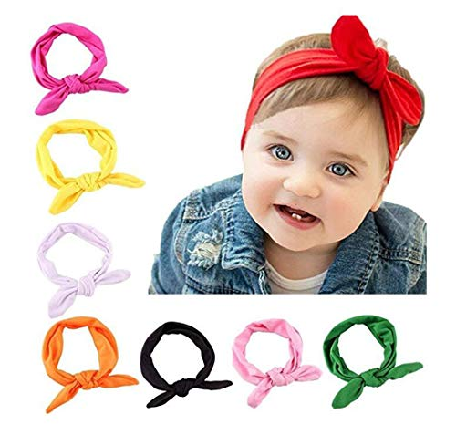 Bestjybt 8 PCS Baby Girls Toddler Bow Headbands Turban Knot Rabbit Hairband Headwear