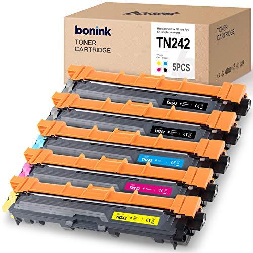 BONINK 5 Toner kompatibel für Brother TN-241 TN-242 TN242 TN-246 Druckerpatronen für Brother HL-3152CDW HL-3142CW MFC-9332CDW DCP-9022CDW DCP-9017CDW Tonerpatrone