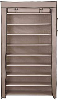 AMPERSAND SHOPS Home Essentials 45-Pair 10-Tier Shoe Fabric Storage Rack with Cover (Taupe)