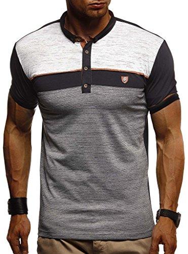 Leif Nelson Herren Sommer T-Shirt Polo Kragen Slim Fit Baumwolle-Anteil Basic schwarzes Männer Poloshirts Longsleeve-Sweatshirt Kurzarm Weißes Kurzarmshirts lang LN1420 Schwarz Large
