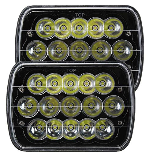Willpower 2 piezas 45W LED Faros 5x7 7x6 Rectángulo H4 Enchufe Hi/Low Led Sealed Beam H6054 6053 6052 5054 Reemplazo de faros para Wrangler YJ XJ MJ