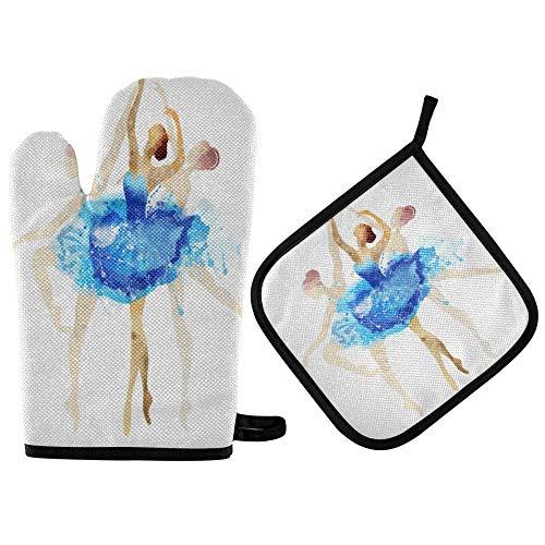 TropicalLife ADMustwin - Juego de guantes de cocina y soporte para ollas para bailarinas de ballet con forro de algodón resistente al calor, antideslizantes, 2 piezas para barbacoa, cocinar y hornear