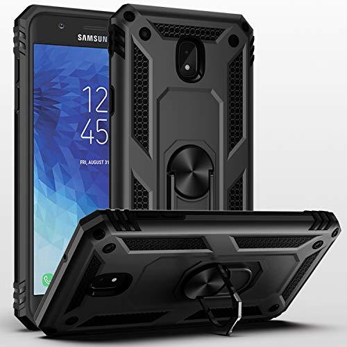 SUSAA Galaxy J3 Star/J3 2018/J3 Orbit/J3 Achieve/J3 Aura Case, 360 Degree Metal Ring Holder Kickstand Phone Case Cover for Samsung J3 2018 Black