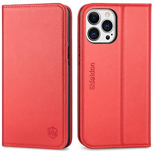 SHIELDON Etui do iPhone 13 Pro, etui na telefon komórkowy, odporne na uderzenia, z prawdziwej skóry, przegródka na karty kredytowe, z zapięciem na magnes, etui ochronne RFID, kompatybilne z iPhone 13 Pro 6,1, czerwone
