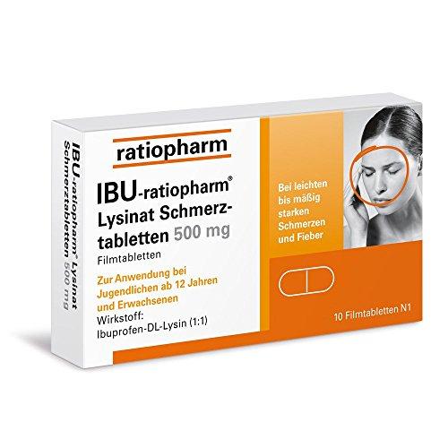 IBU RATIOPHARM Lysinat Schmerztabl.500 mg 10 St