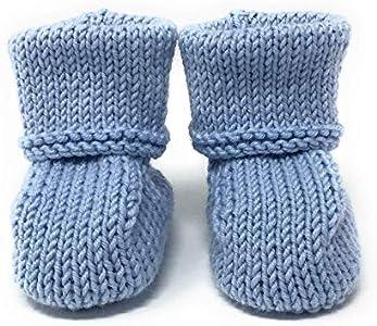 Patucos para bebé de lana, de lujo, hechos a mano:–Azul / 0–6meses
