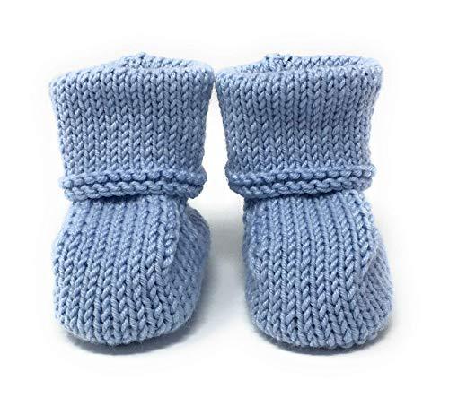 Pantofole per bambini, in lana di alta qualità, fatte a mano,azzurre, 0-6mesi