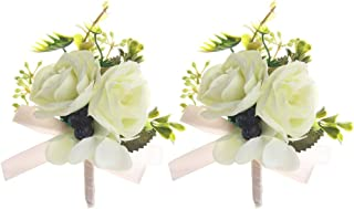 Febou Boutonniere 2PCS Wedding Boutonniere Handmade Boutonniere Corsage with Pin and Clip for Groom Bridegroom Groomsman Perfect for Wedding, Prom, Party(Boutonniere, Q-White)