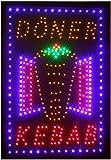 DONER KEBAB Elektronisches LED-Schild - das originale intelligente leuchtende LED-Schild für...