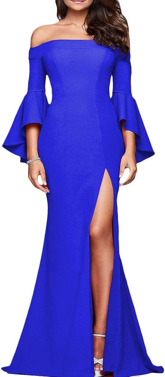 ECDAHICC Women' s Off Shoulder Bell Alternative dealer Sleeve Even ! Super beauty product restock quality top! High Formal Slit
