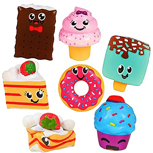 6 Desert Squishy Toys for Kids - Squishies Jumbo Pack Scented Slow Rising Squishies - 3' Desert Food - Stress Relief Sensory Fidget Stress Ball Toy for Boys Girls by 4E's Novelty