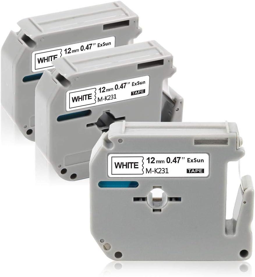 Exsun 5x Nastro per Etichette Sostituzione per Brother M Tape 9mm/0.35 M-K221 M-K421 M-K521 M-K621 M-K721 Cassetta per Brother P-Touch PT65 PT80 PTM95 PT90 PT55 PT70 PT75 PT85 PT95 PT45M 9mm x 8m