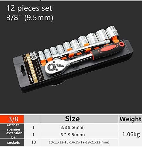 YKWYQ Kettennieter Fahrrad Steckschlüssel SetDrive Ratsche Schraubenschlüssel for Fahrrad-Motorrad-Auto-Reparatur-Tool Sockets Set (Size : 21pcs12)